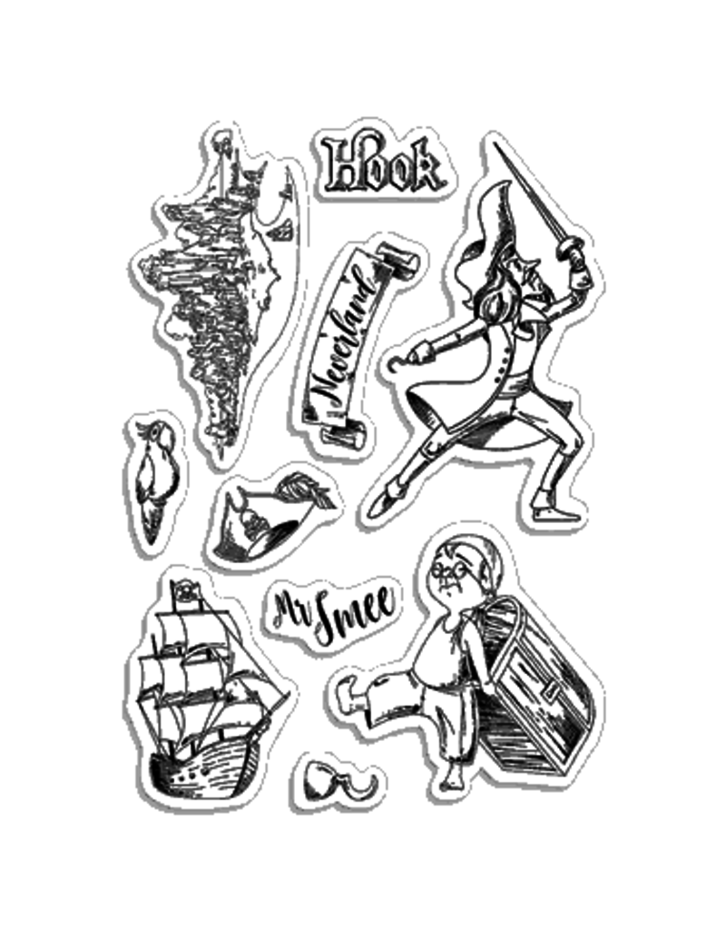 """Ciao Bella Clear Stamp Set 4""""x6"""" Hook & Mr Smee"""