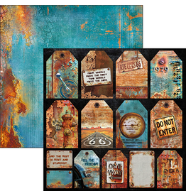 """Ciao Bella Rusted Tags Paper Sheet 12""""x12"""""""