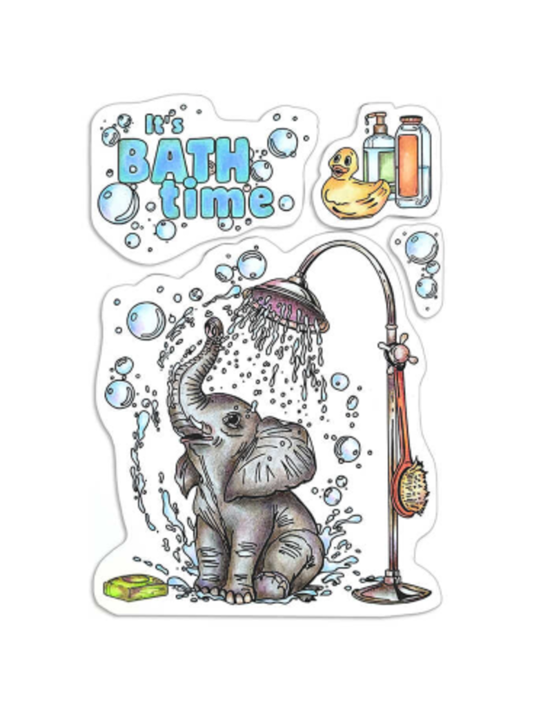"""Ciao Bella Clear Stamp Set 4""""x6"""" It's Bath Time"""