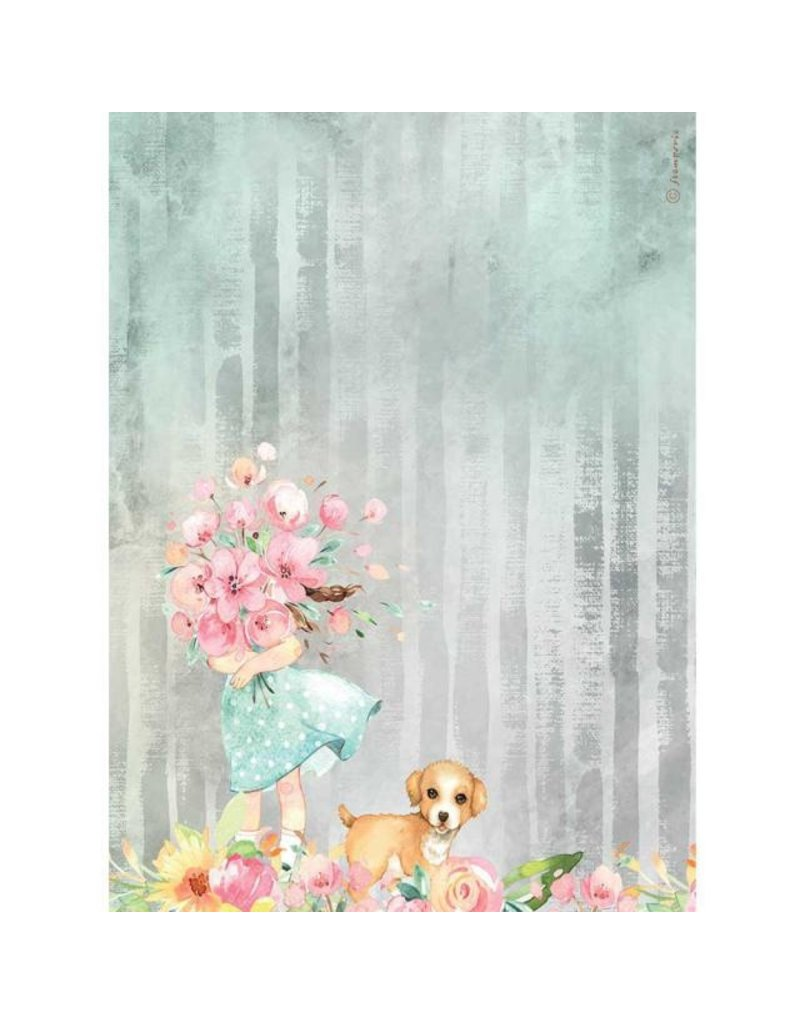Stamperia A4 Rice paper packed - Circle of Love bouquet and dog