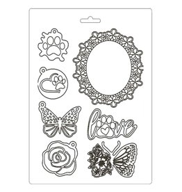 Stamperia Soft Mould A5 - Circle of Love frame and butterfly