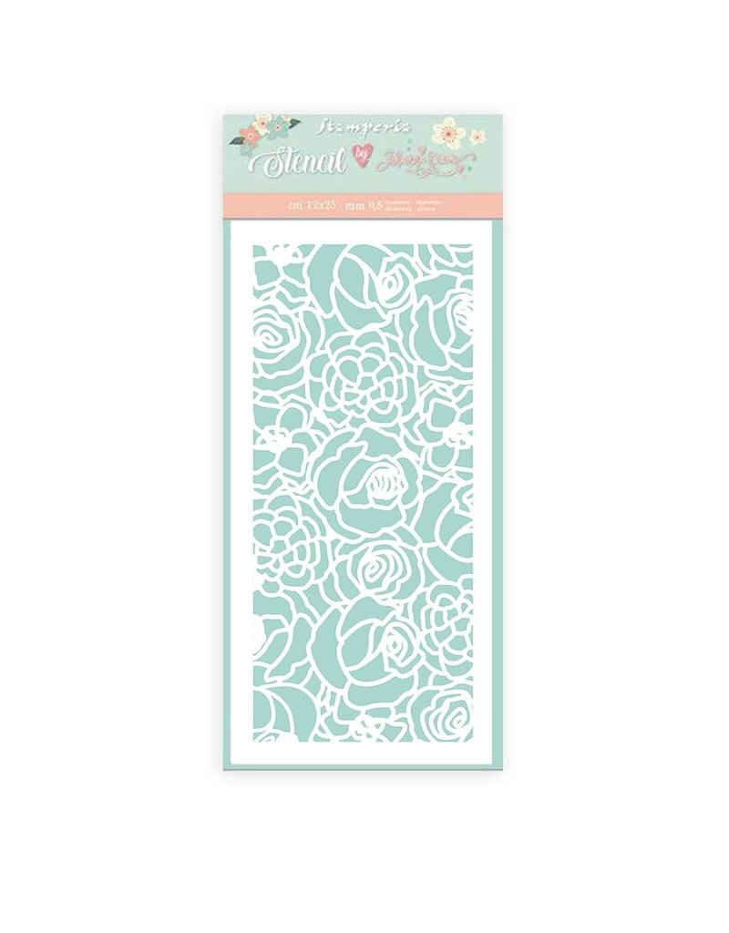 Stamperia Thick Stencil 12x25cm Circle of Love Texture Roses