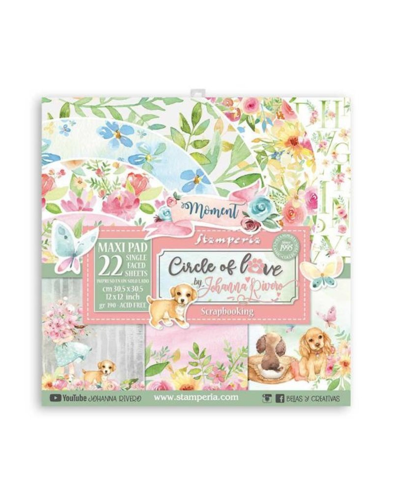 """Stamperia Scrapbooking Pad 22 sheets - 30.5x30.5 (12""""x12"""") - Single face Circle of Love"""