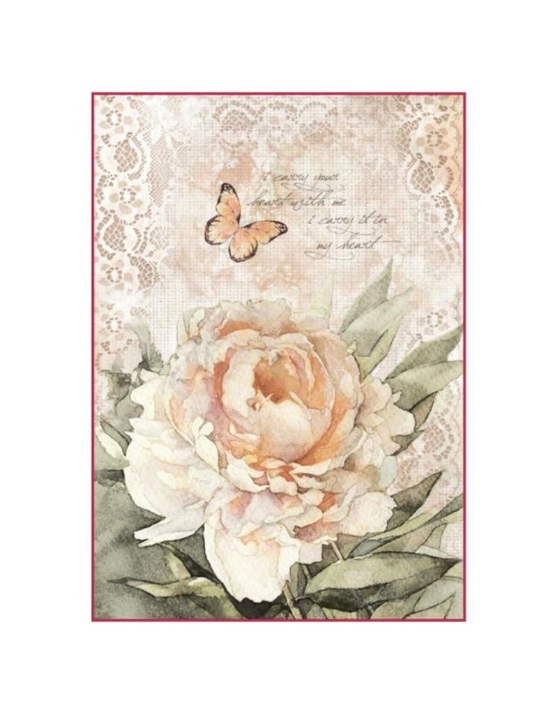 Stamperia A4 Rice Paper Packed Vintage rose and laces