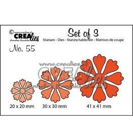Crealies Crealies • Set van 3 snijmallen no.55 Bloemen