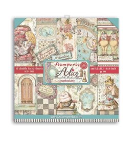 """Stamperia Extra small Pad 10 sheets - 15.24x15.24 (6""""x6"""") Double Face Alice through the looking glass"""