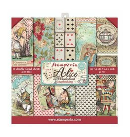 """Stamperia Extra small Pad 10 sheets - 15.24x15.24 (6""""x6"""") Double Face Alice in Worderland"""