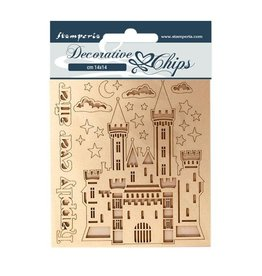 Stamperia Decorative chips 14x14 Sleeping Beauty castle