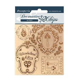 Stamperia Decorative chips 14x14 Alice keys and frames