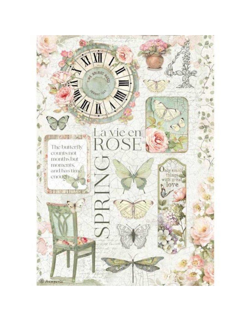 Stamperia A4 Rice paper packed - La Vie en Rose
