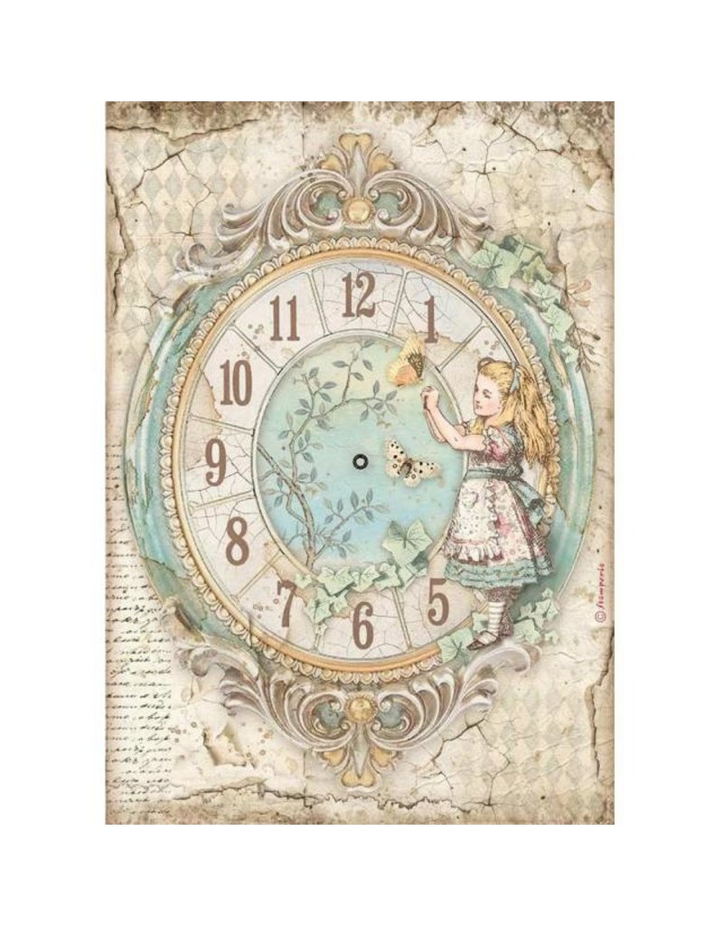 Stamperia A4 Rice paper packed - Alice clock