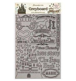 Stamperia A4 Greyboard 2 mm - Sleeping Beauty castle