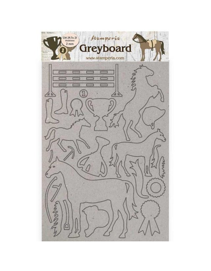 Stamperia A4 Greyboard 2 mm - Romantic Horses trophy