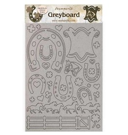 Stamperia A4 Greyboard 2 mm - Romantic Horses horseshoes