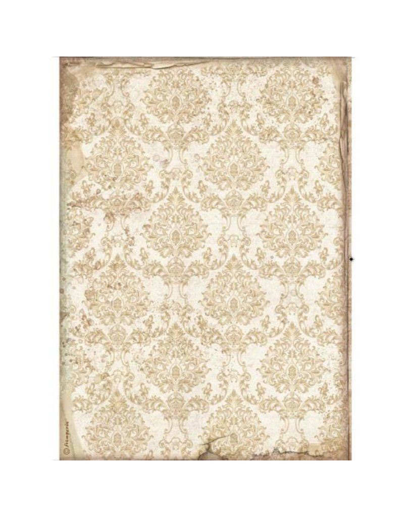 Stamperia A4 Rice paper packed - Sleeping Beauty wallpaper gold