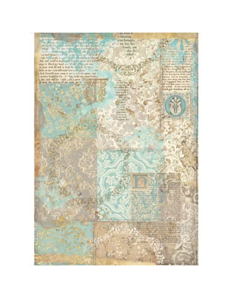 Stamperia <br /> A4 Rice paper packed - Sleeping Beauty texture gold