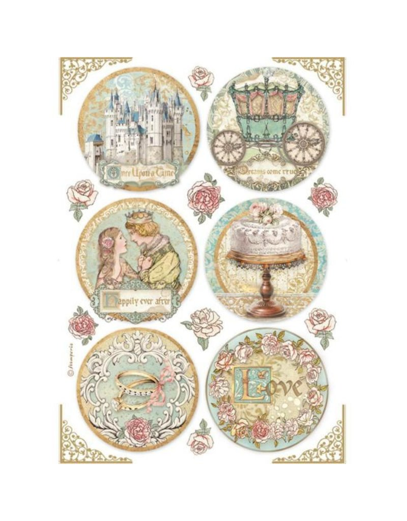 Stamperia A4 Rice paper packed - Sleeping Beauty rounds