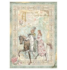 Stamperia A4 Rice paper packed - Sleeping Beauty prince on horse