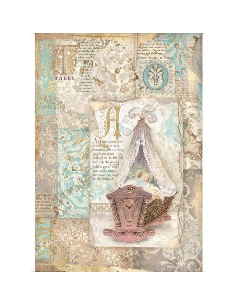 Stamperia A4 Rice paper packed - Sleeping Beauty cradle