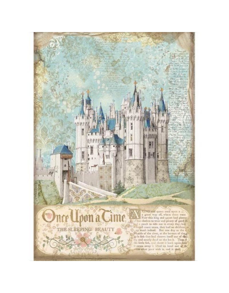 Stamperia A4 Rice paper packed - Sleeping Beauty castle