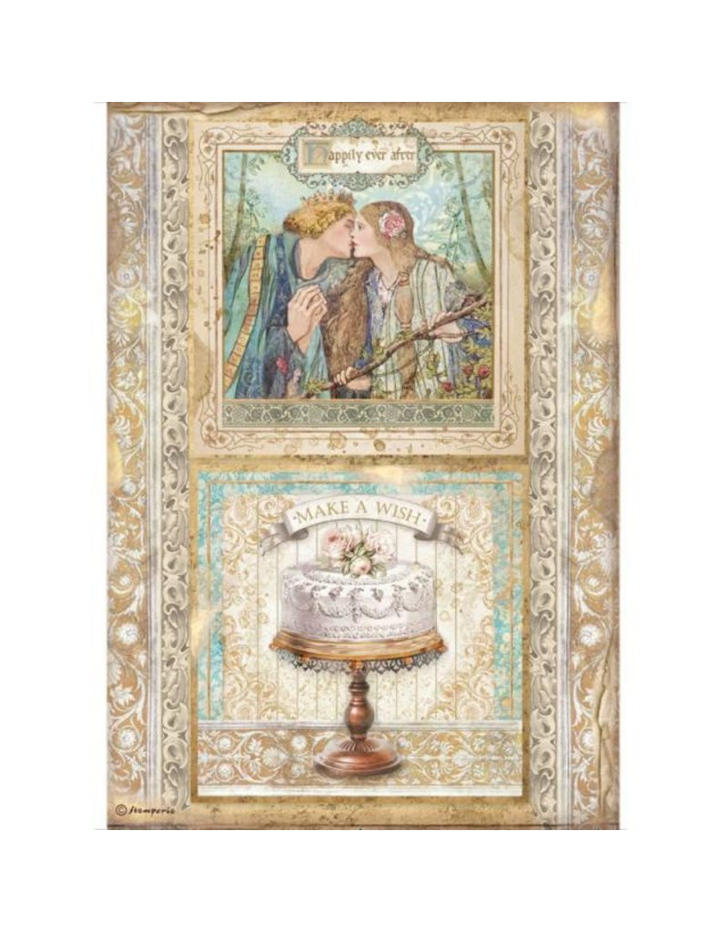 Stamperia A4 Rice paper packed - Sleeping Beauty cake frame
