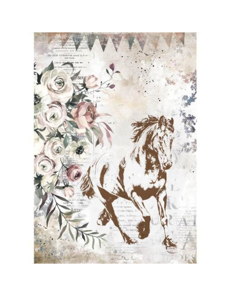 Stamperia A4 Rice paper packed - Romantic Horses running horse