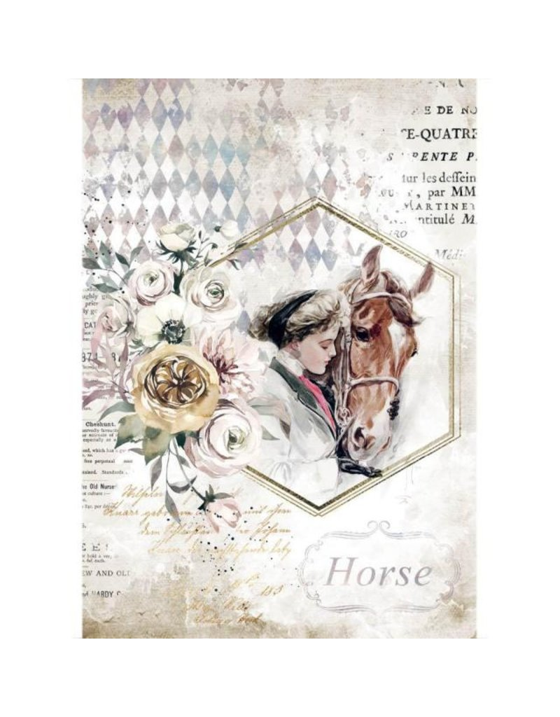 Stamperia A4 Rice paper packed - Romantic Horses lady frame