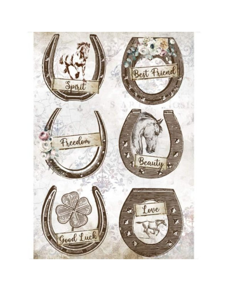 Stamperia A4 Rice paper packed - Romantic Horses horseshoes