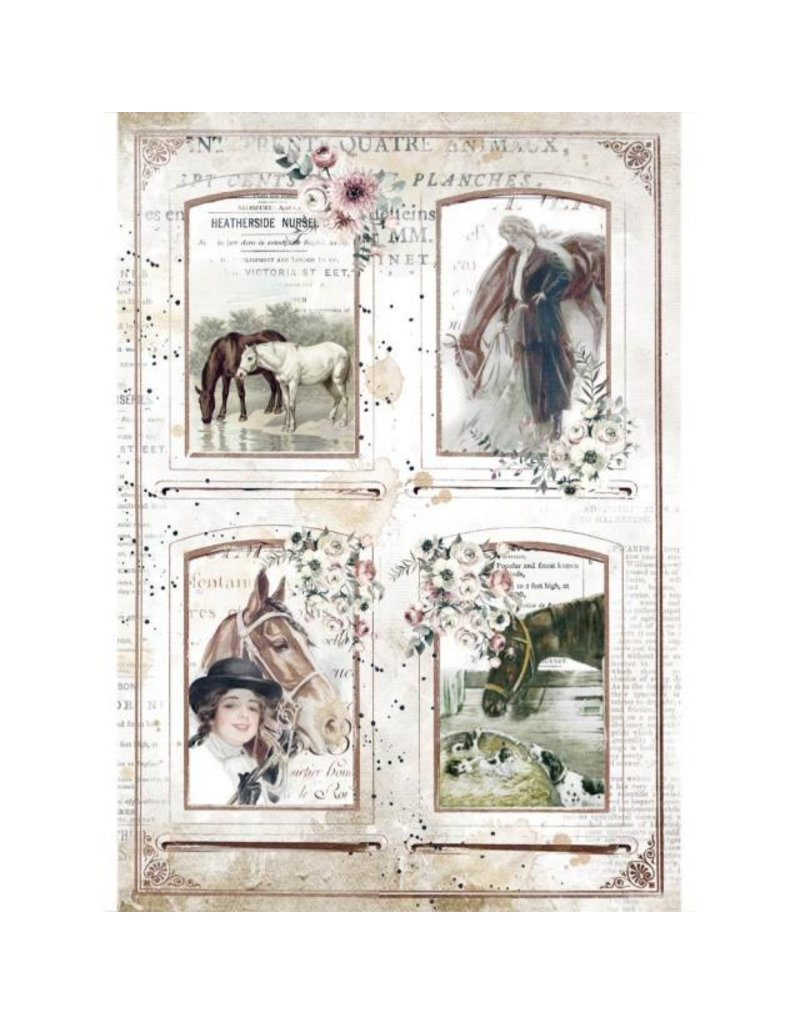 Stamperia A4 Rice paper packed Romantic Horses 4 frames