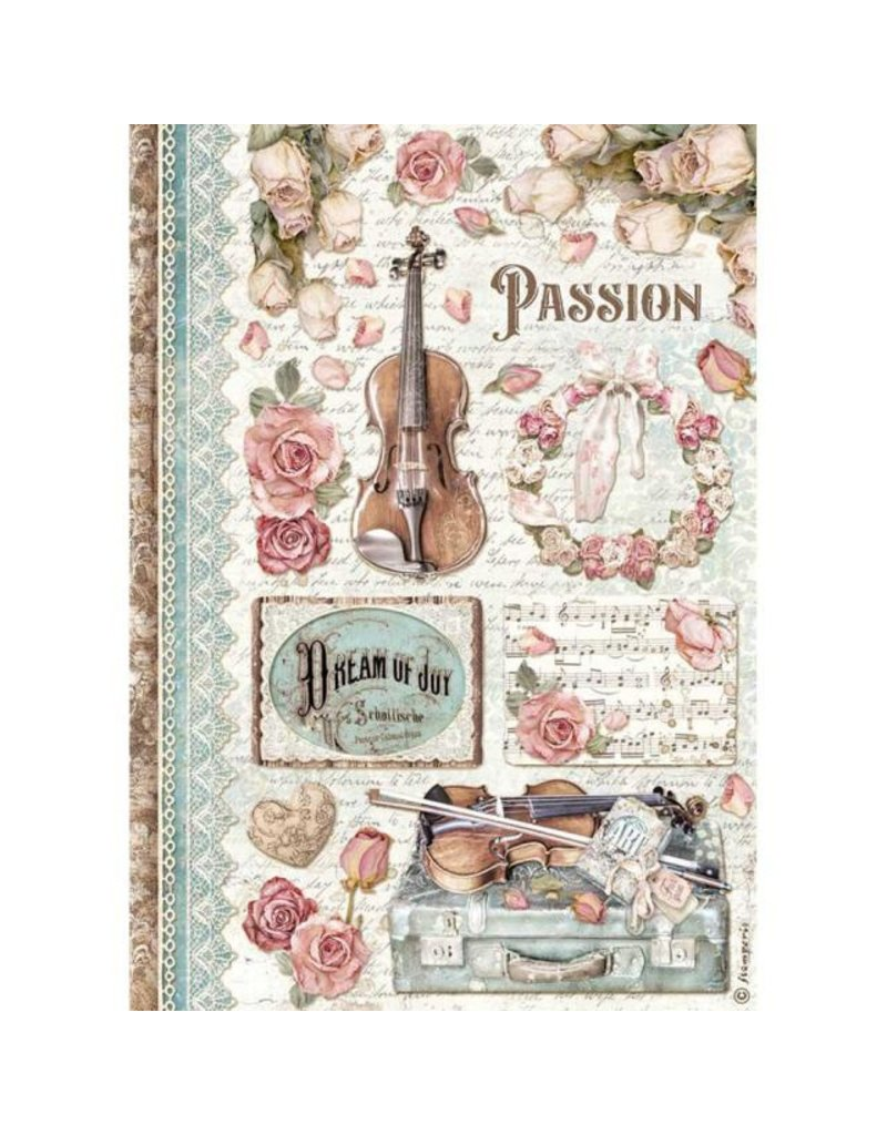 Stamperia A4 Rice paper packed - passion music