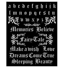 Stamperia Thick stencil 20x25 cm - Sleeping Beauty alphabet and<br /> quotes