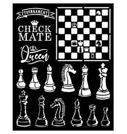 Stamperia Thick stencil 20x25 cm -  Alice check mate