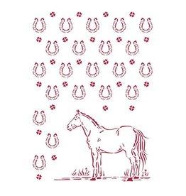 Stamperia Stencil G 21x29,7 cm - Romantic Horses horseshoes pattern