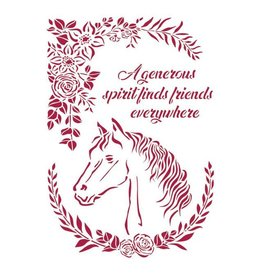 Stamperia Stencil G 21x29,7 cm - Romantic Horses horse with flowers