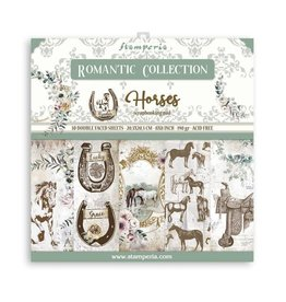 """Stamperia Small Pad 10 sheets cm 20,3x20,3 (8""""x8"""") Double Face Romantic Horses"""