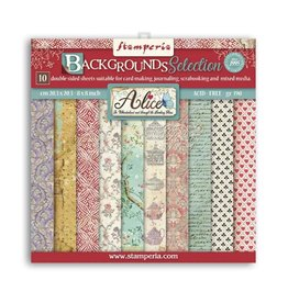 """Stamperia Small Pad 10 sheets cm 20,3x20,3 (8""""x8"""") Double Face Backgrounds Selection Alice"""