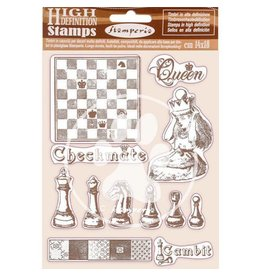 Stamperia HD Natural Rubber Stamp 14x18 cm - Alice checkmate