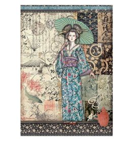 Stamperia A4 Rice paper packed - Sir Vagabond in Japan lady