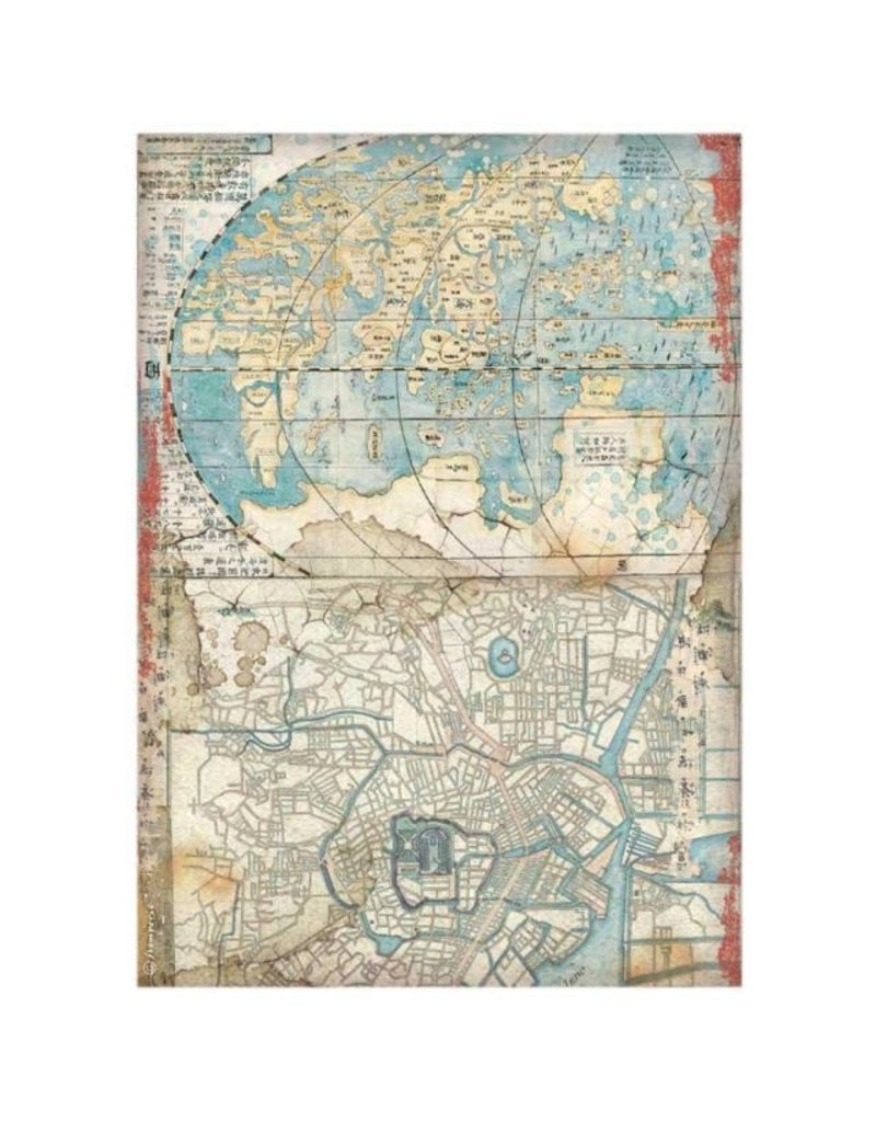 Stamperia A4 Rice paper packed - Sir Vagabond in Japan map