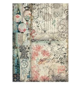 Stamperia A4 Rice paper packed - Sir Vagabond in Japan lamps
