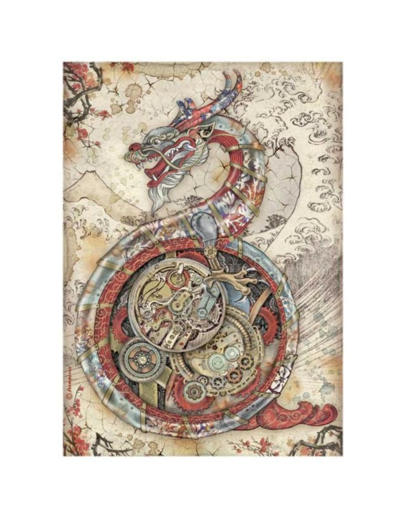 Stamperia A4 Rice paper packed - Sir Vagabond in Japan mechanical dragon