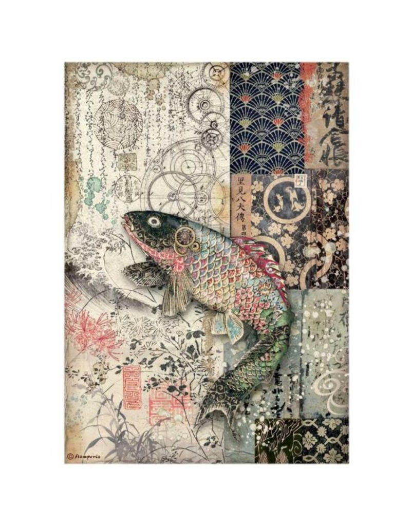 Stamperia A4 Rice paper packed - Sir Vagabond in Japan mechanical fish