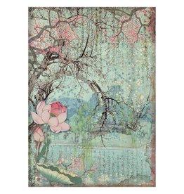 Stamperia A4 Rice paper packed - Sir Vagabond in Japan oriental tree