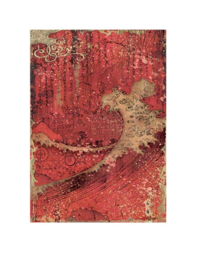 Stamperia A4 Rice paper packed - Sir Vagabond in Japan red texture