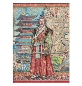 Stamperia A4 Rice paper packed - Sir Vagabond in Japan samurai
