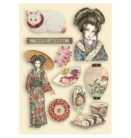 Stamperia Colored Wooden shape A5 - Sir Vagabond in Japan lady