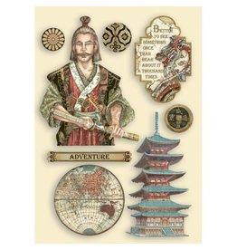 Stamperia Colored Wooden shape A5 - Sir Vagabond in Japan samurai
