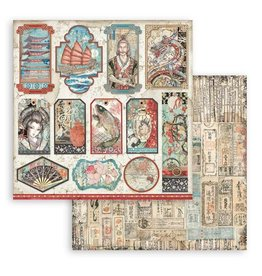 Stamperia Scrapbooking Double face sheet - Sir Vagabond in Japan tags