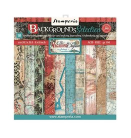 """Stamperia Scrapbooking Small Pad 10 sheets cm 20,3X20,3 (8""""X8"""") Backgrounds Selection - Sir Vagabond in Japan"""