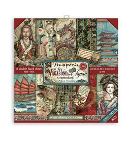 """Stamperia Scrapbooking Small Pad 10 sheets cm 20,3X20,3 (8""""X8"""") - Sir Vagabond in Japan"""